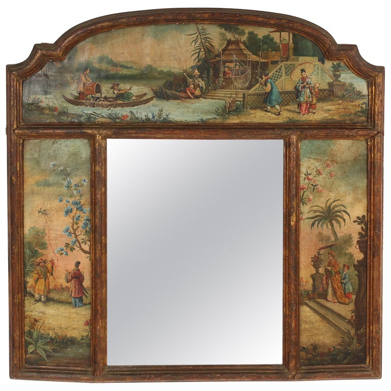 Chinoiserie Painted Italian Mirror For Sale