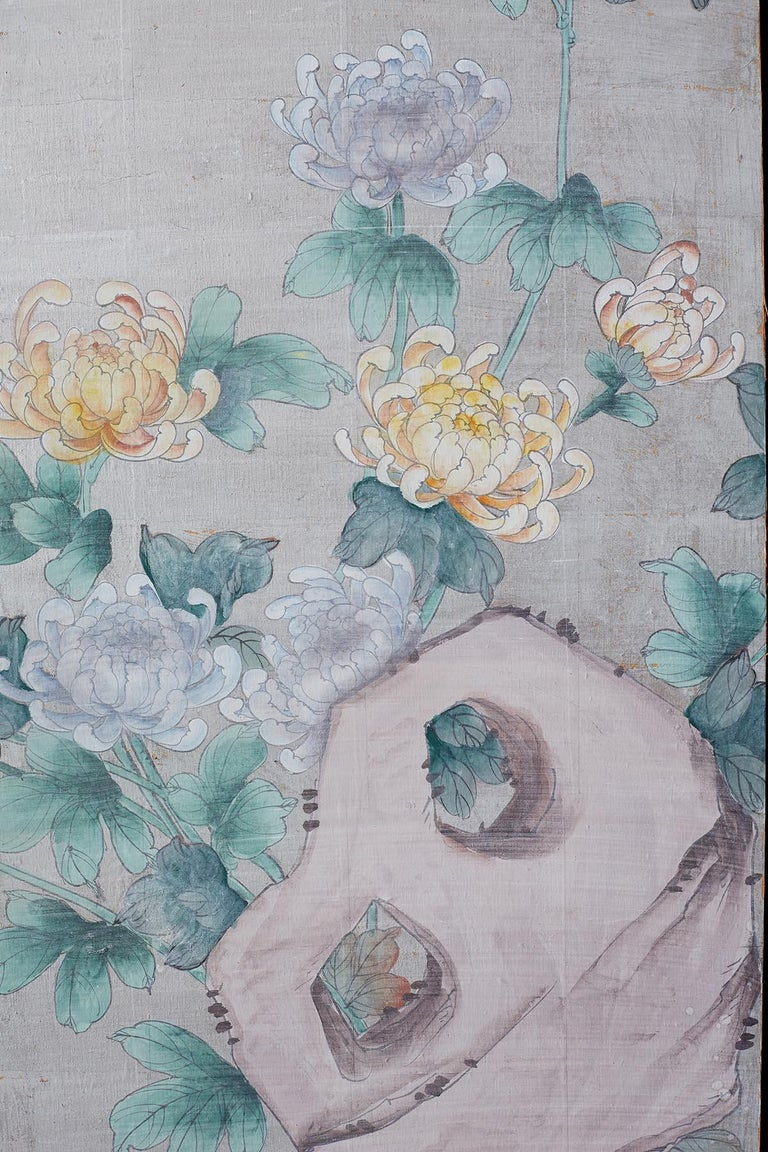 Chinoiserie Painted Silver Leaf Six-Panel Wallpaper Screen For Sale 4