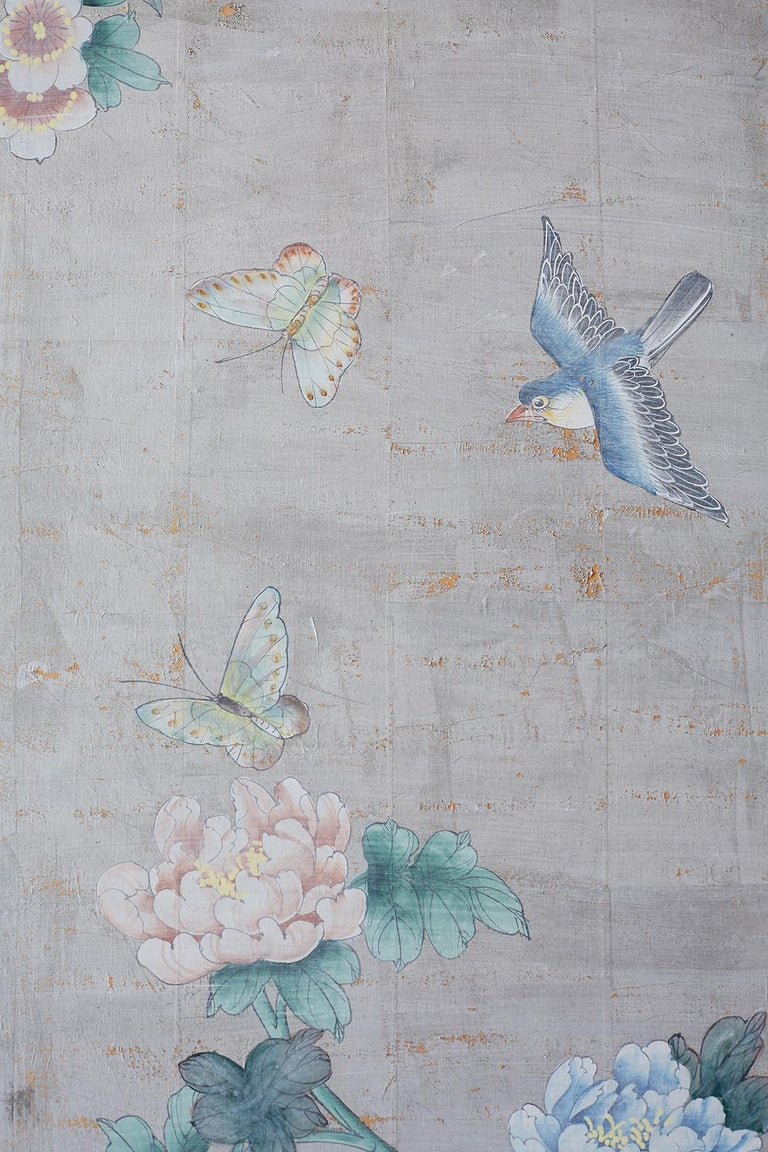 Chinoiserie Painted Silver Leaf Six-Panel Wallpaper Screen For Sale 5