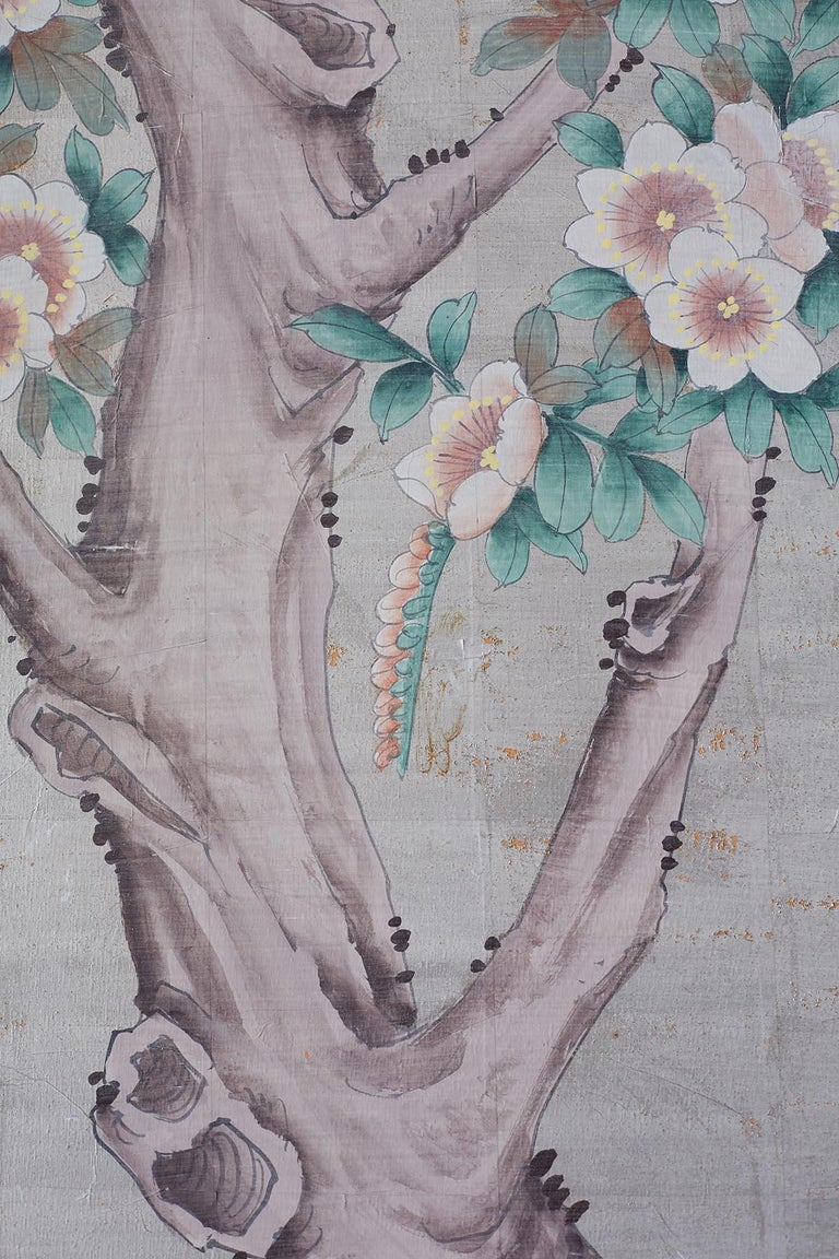 Chinoiserie Painted Silver Leaf Six-Panel Wallpaper Screen For Sale 8