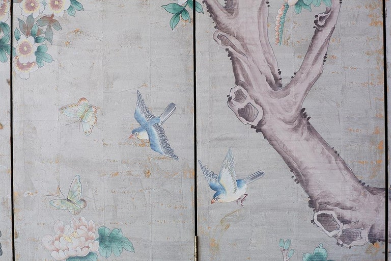 Chinoiserie Painted Silver Leaf Six-Panel Wallpaper Screen For Sale 10