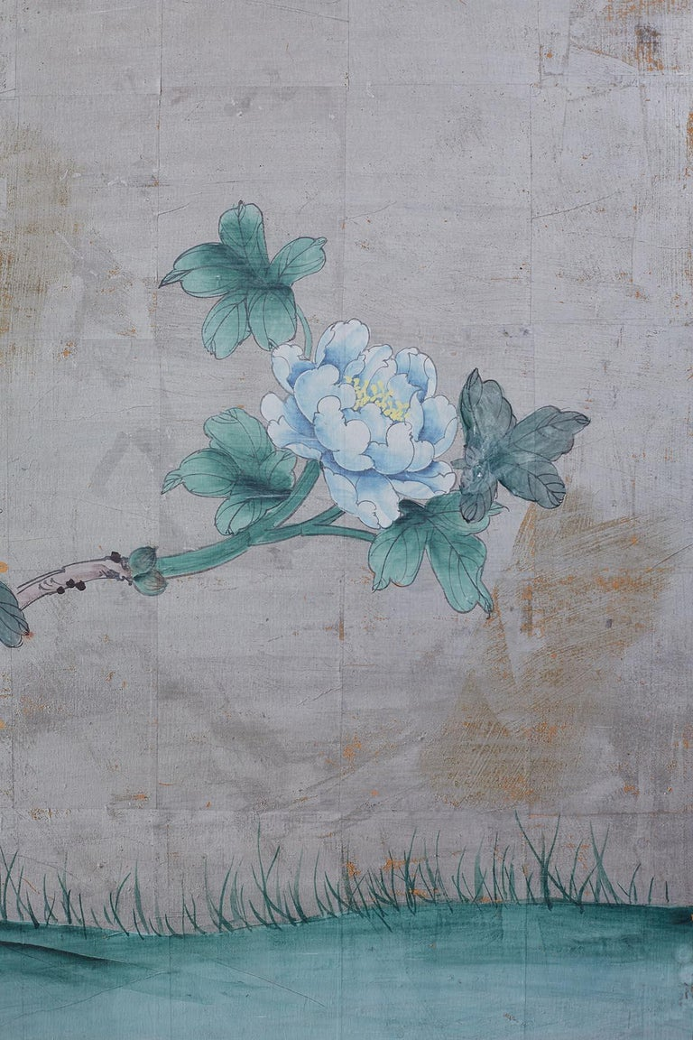 Chinoiserie Painted Silver Leaf Six-Panel Wallpaper Screen For Sale 11