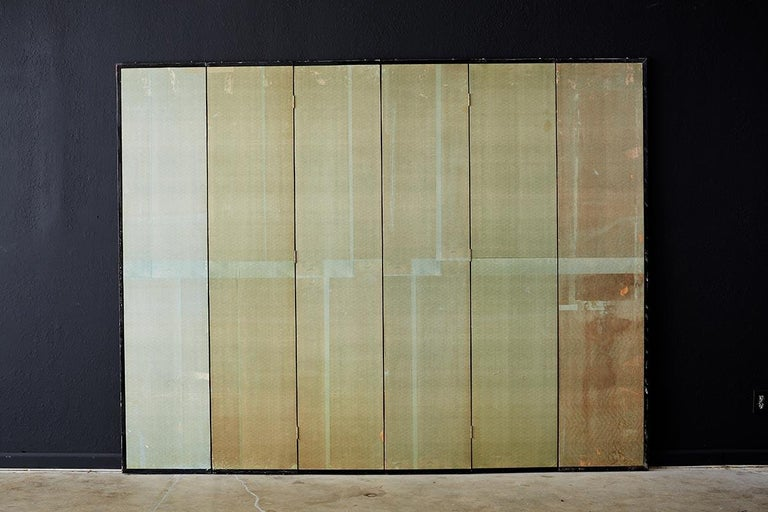Chinoiserie Painted Silver Leaf Six-Panel Wallpaper Screen For Sale 13