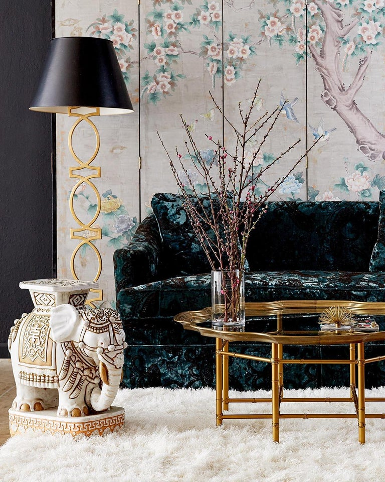 Chinese Chinoiserie Painted Silver Leaf Six-Panel Wallpaper Screen For Sale