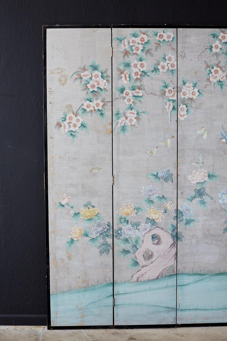 Ebonized Chinoiserie Painted Silver Leaf Six-Panel Wallpaper Screen For Sale