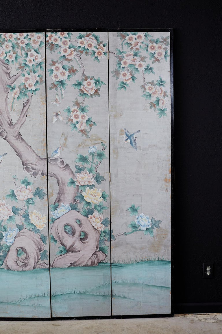 20th Century Chinoiserie Painted Silver Leaf Six-Panel Wallpaper Screen For Sale
