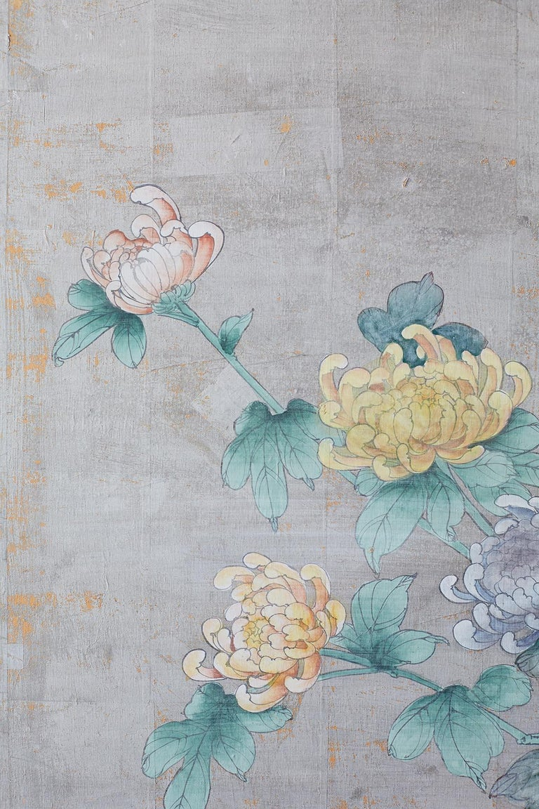 Brass Chinoiserie Painted Silver Leaf Six-Panel Wallpaper Screen For Sale