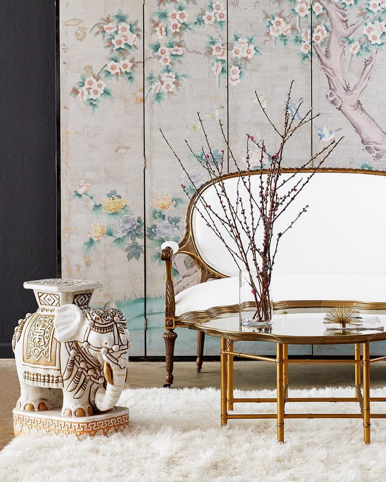 Chinoiserie Painted Silver Leaf Six-Panel Wallpaper Screen For Sale 1