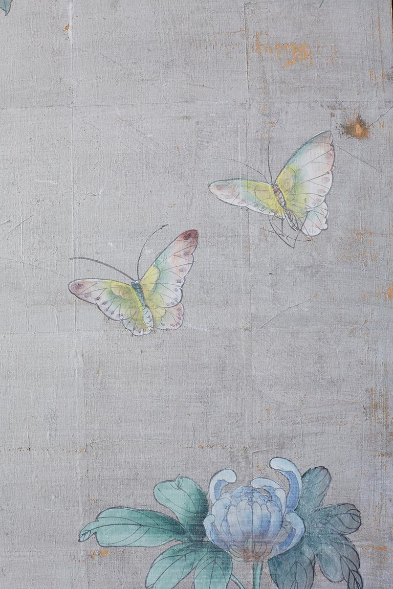 Chinoiserie Painted Silver Leaf Six-Panel Wallpaper Screen For Sale 2