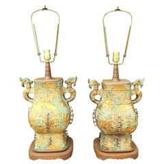 Chinoiserie Pair of Iron Table Lamps