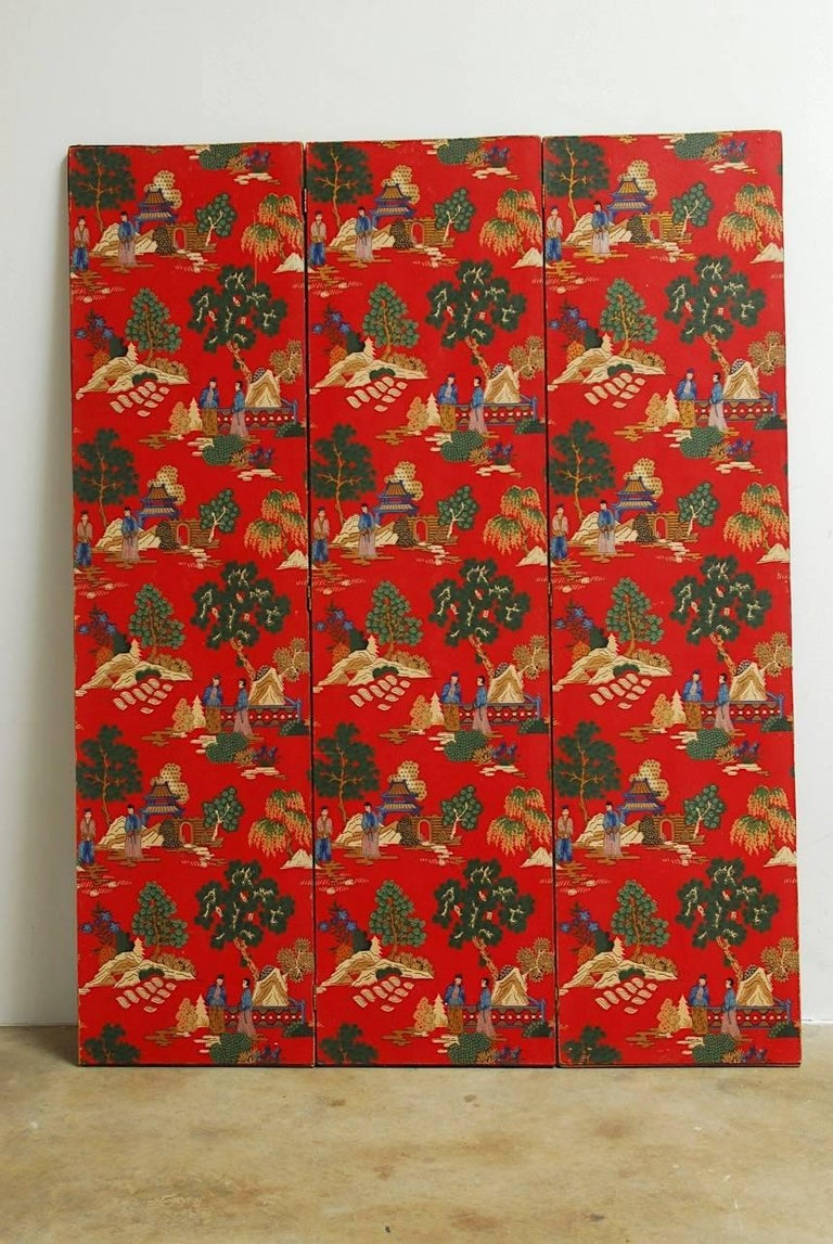Chinoiserie Polychrome Wallpaper Three-Panel Pagoda Screen For Sale 5