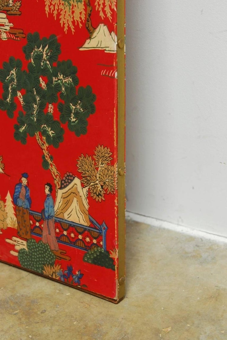 Chinoiserie Polychrome Wallpaper Three-Panel Pagoda Screen For Sale 6