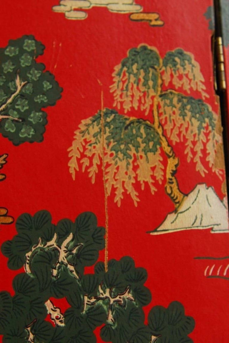Chinoiserie Polychrome Wallpaper Three-Panel Pagoda Screen For Sale 7