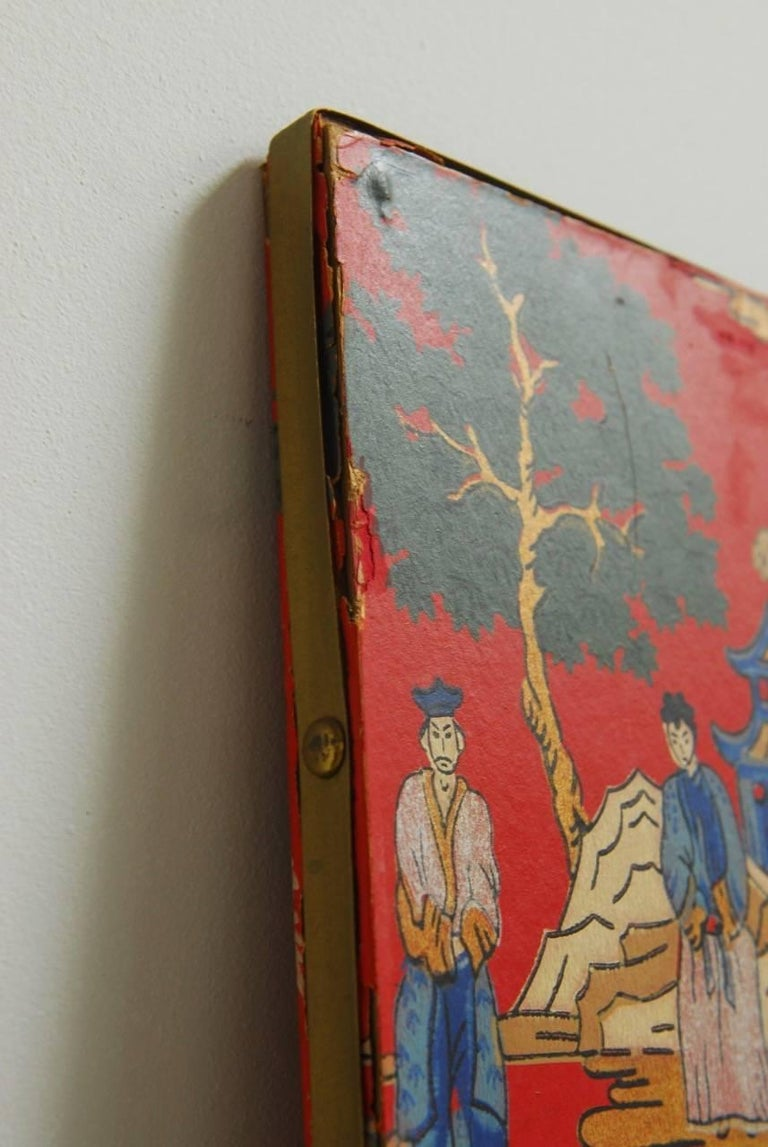 Chinoiserie Polychrome Wallpaper Three-Panel Pagoda Screen For Sale 8