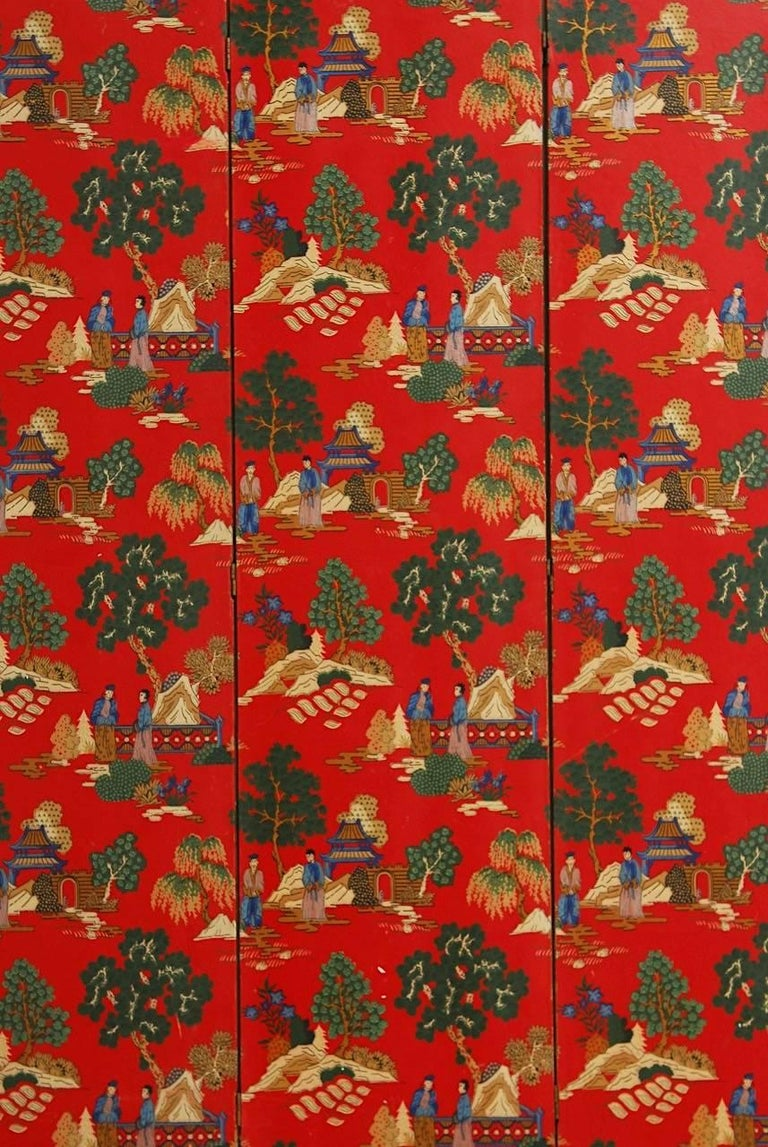 Chinese Export Chinoiserie Polychrome Wallpaper Three-Panel Pagoda Screen For Sale