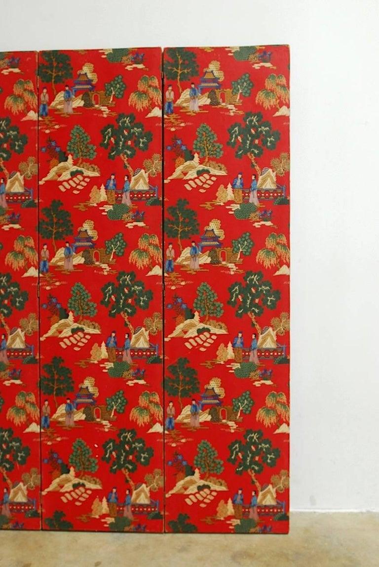 European Chinoiserie Polychrome Wallpaper Three-Panel Pagoda Screen For Sale
