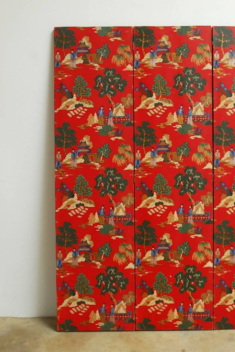 Chinoiserie Polychrome Wallpaper Three-Panel Pagoda Screen In Good Condition For Sale In Oakland, CA