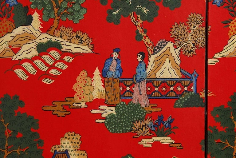 20th Century Chinoiserie Polychrome Wallpaper Three-Panel Pagoda Screen For Sale