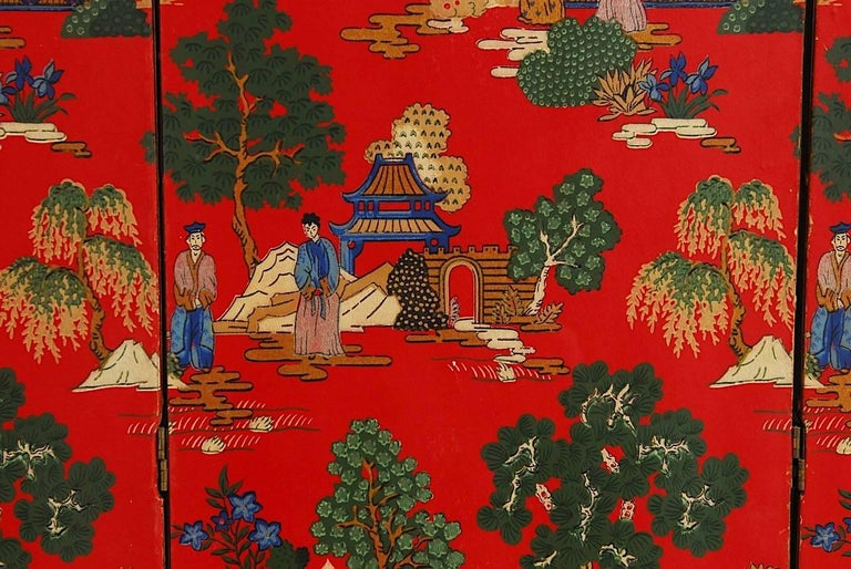 Brass Chinoiserie Polychrome Wallpaper Three-Panel Pagoda Screen For Sale