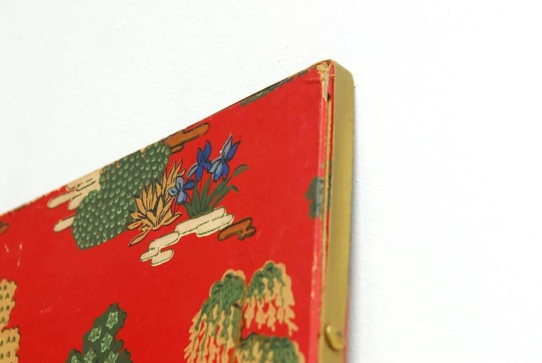 Chinoiserie Polychrome Wallpaper Three-Panel Pagoda Screen For Sale 1