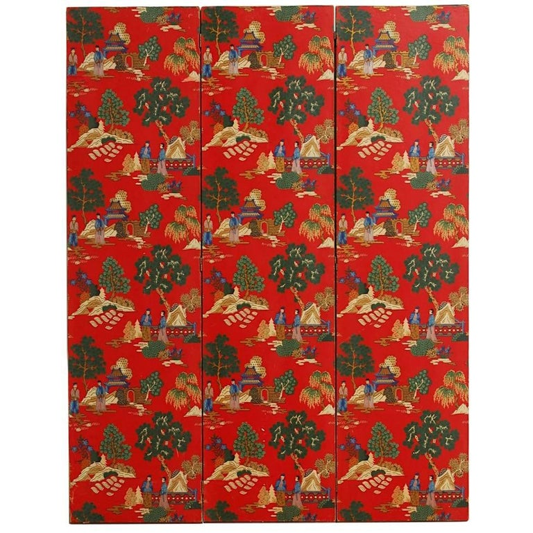 Chinoiserie Polychrome Wallpaper Three-Panel Pagoda Screen For Sale
