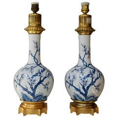 One Chinoiserie Porcelain Blue and White Flower Table Lamp
