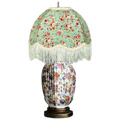Chinoiserie Porcelain Gilt Floral Ginger Jar Hand Painted Table Lamp, Monumental