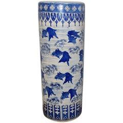 Chinoiserie Porcelain Umbrella Stand with Koi Fish Design