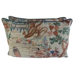 Chinoiserie Printed Linen Pillows, a Pair