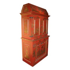 Chinoiserie Red and Gilt Painted Tall Bookcase