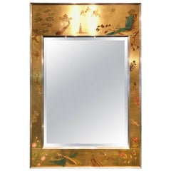 Chinoiserie Reverse Painted Wall Mirror