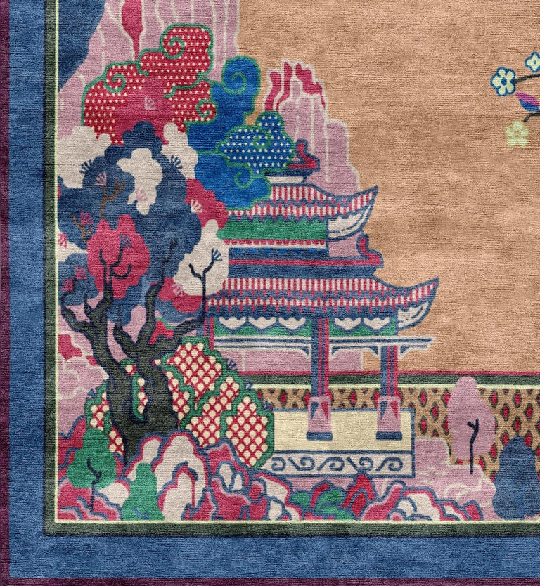 The Chinoiserie collection is based upon the ancient drawings of Chinese carpets, which are now incredibly rare to find. The designs maintain the system of symbols and geometric principles of the traditional rugs, most of the color schemes and