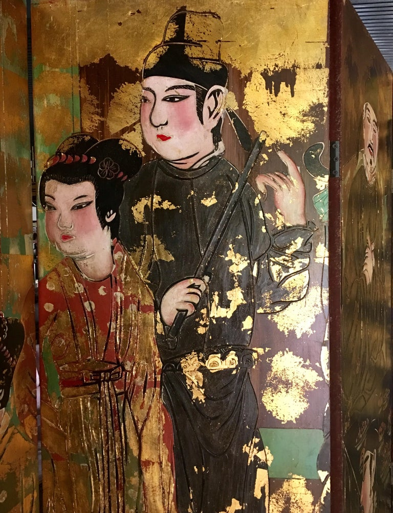 Brass Chinoiserie Room Divider Folding Screen For Sale