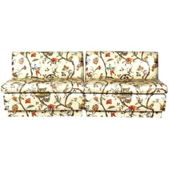 Chinoiserie Scalamandre Modern Polished Cotton Cream Banquette Bench