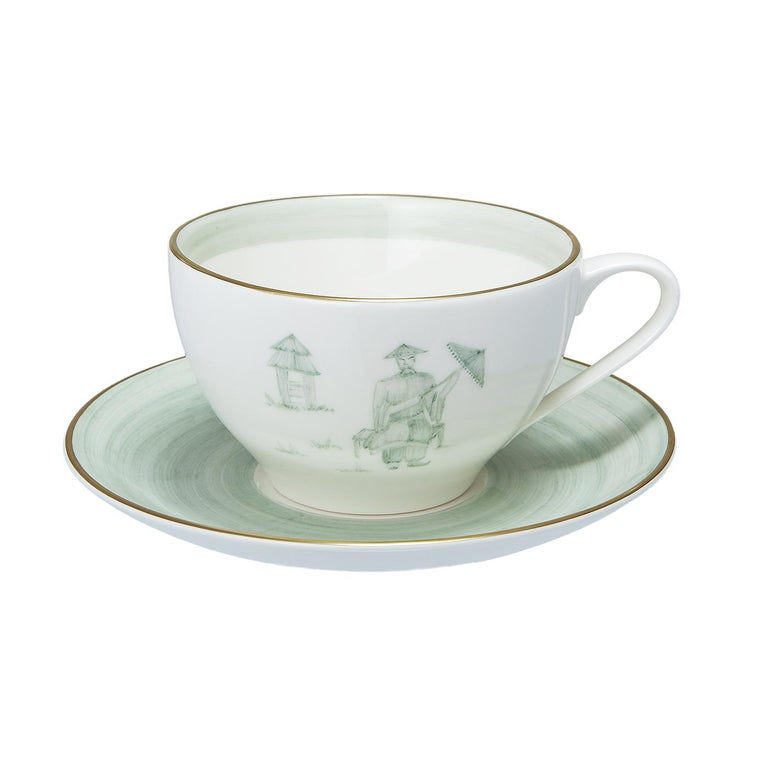 Hand-Painted Chinoiserie Set of Four Porcelain Cups Hand Painted Sofina Boutique Kitzbuehel For Sale