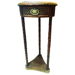 Chinoiserie Side Table in Rattan and Faux Bamboo with a Drawer