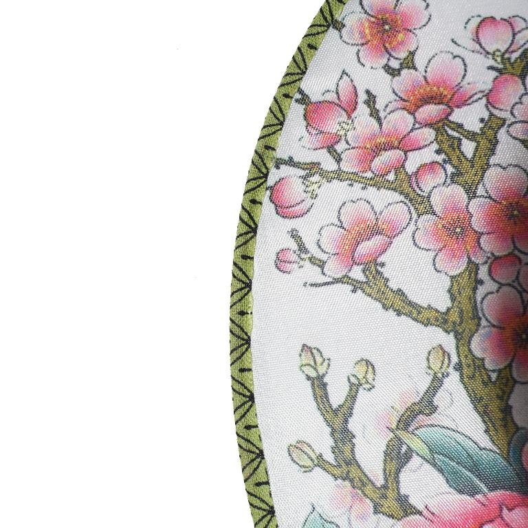 Chinese Chinoiserie Silk Paddle Fans with Floral and Bird Details Set of 9 New For Sale