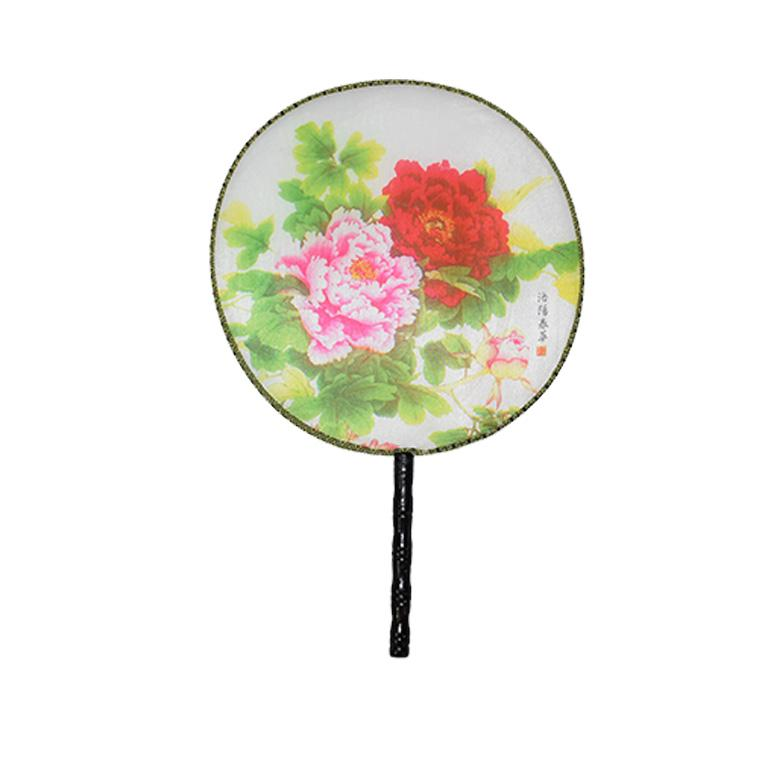 Chinoiserie Silk Paddle Fans with Floral and Bird Details Set of 9 New In Excellent Condition For Sale In Oklahoma City, OK