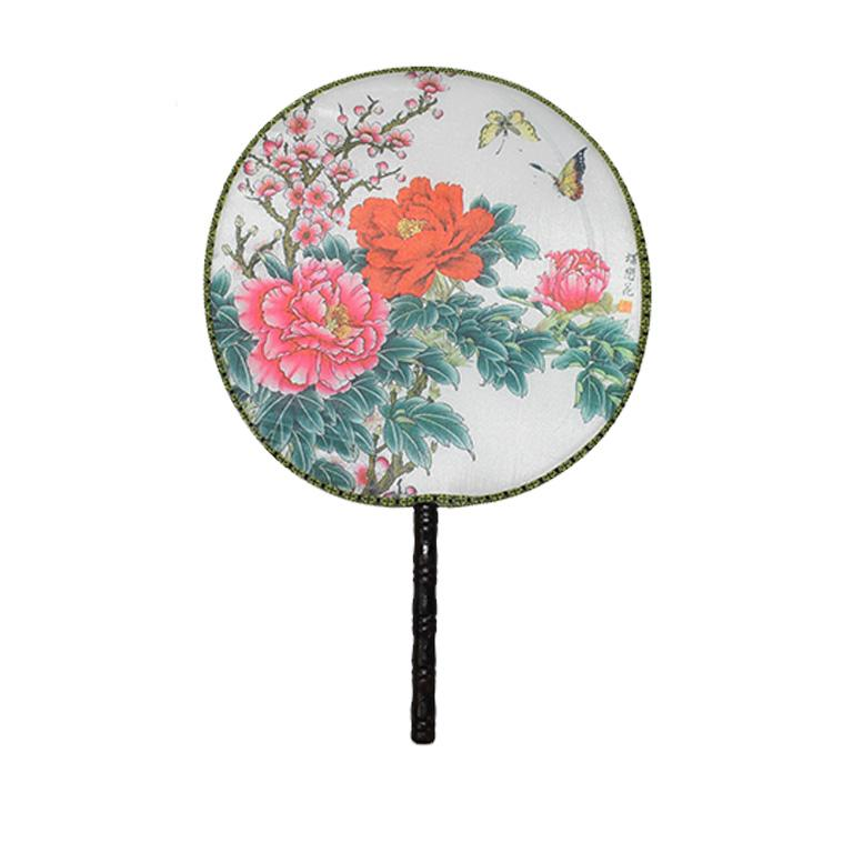Contemporary Chinoiserie Silk Paddle Fans with Floral and Bird Details Set of 9 New For Sale