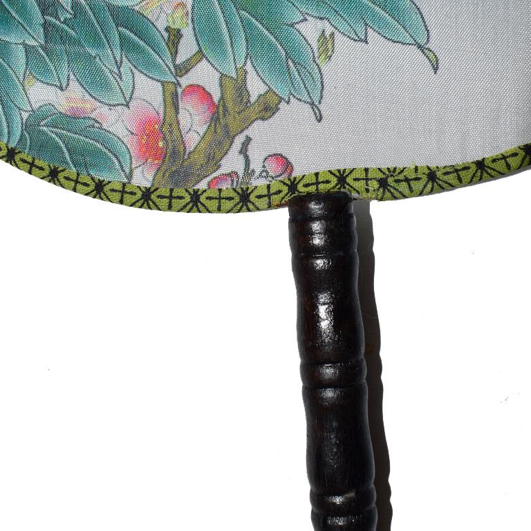 Fabric Chinoiserie Silk Paddle Fans with Floral and Bird Details Set of 9 New For Sale