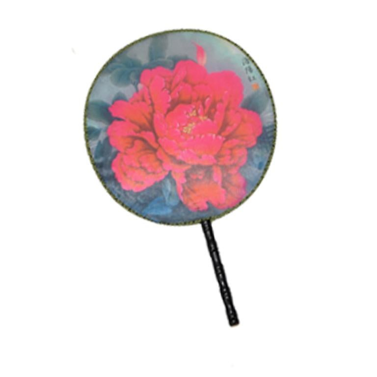 Chinoiserie Silk Paddle Fans with Floral and Bird Details Set of 9 New For Sale 1