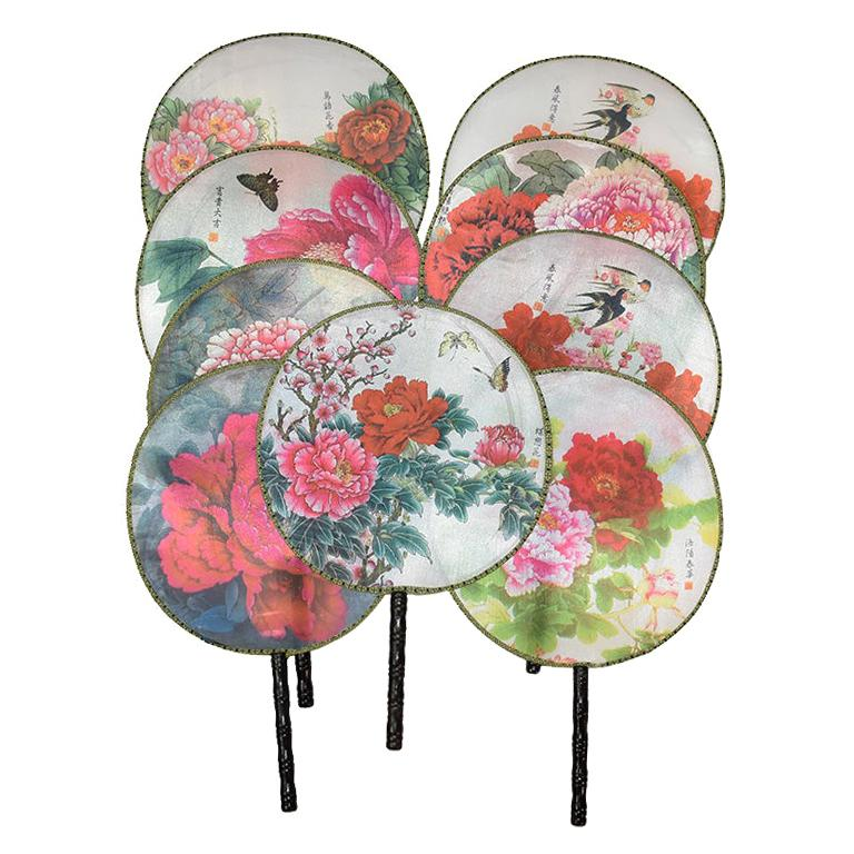 Chinoiserie Silk Paddle Fans with Floral and Bird Details Set of 9 New For Sale