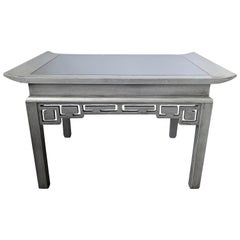 Chinoiserie Silver Painted and Mirror Cocktail Table by Kittinger