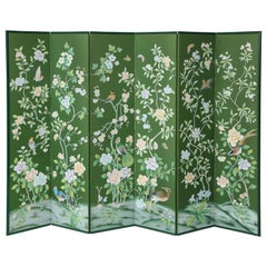 Chinoiserie Six-Panel Hand-Decorated Screen