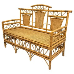 Chinoiserie Style Bamboo and Woven Wicker Loveseat Bench