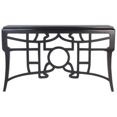 Chinoiserie Style Black Lacquered Wall-Mounted Console