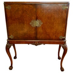 Chinoiserie Style Carved Burl Walnut Cabinet Dry Bar