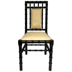 Chinoiserie Style Faux Bamboo Black Lacquer Side Desk Chair