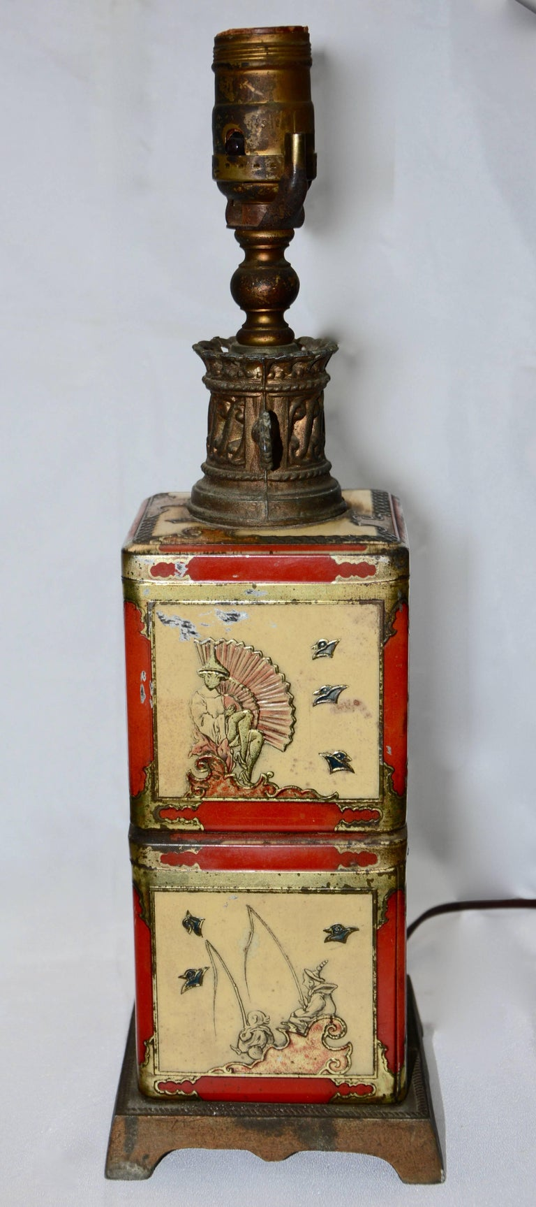 Cast Chinoiserie Style Tea Tin Electric Table Lamp For Sale
