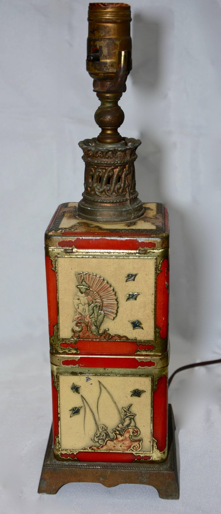 20th Century Chinoiserie Style Tea Tin Electric Table Lamp For Sale